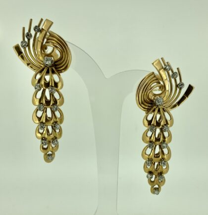 Drop Earrings - Gold with Diamonds